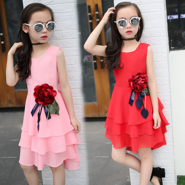 18dc5c8305f20 Kids 2019 new summer big flower chiffon girl dress sleeveless solid color  dress 3 4 5 6 7 8 9 10 11 12 years baby girl clothes
