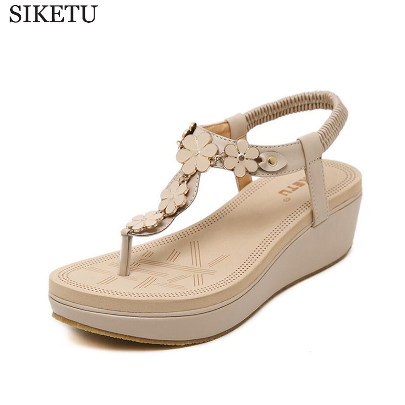 SIKETU 2017 new shoes woman gladiator sandals women Beaded platform sandals flip flops sandalias mujer s320 summer flat sandals ladies jelly bohemia beach flip flops shoes gladiator women shoes sandles platform zapatos mujer sandalias