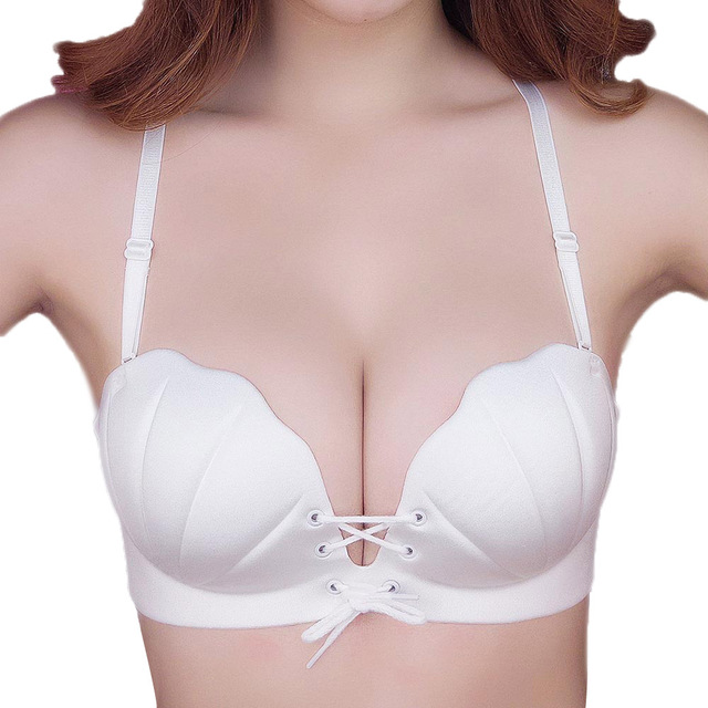 f19a5b1cc3 Sexy Shell Push Up Bras For Women Invisible Strapless Bra Adjustment Clear  Back Straps Underwear Padded Bralette Lingerie BH Top
