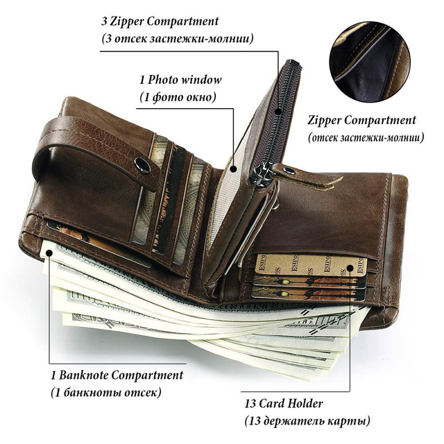GZCZ nueva billetera Cartera de cuero para hombre, monedero con cierre de cremallera informal para hombre, cartera multifunción para hombre, bolsa de dinero delgada, caliente venta