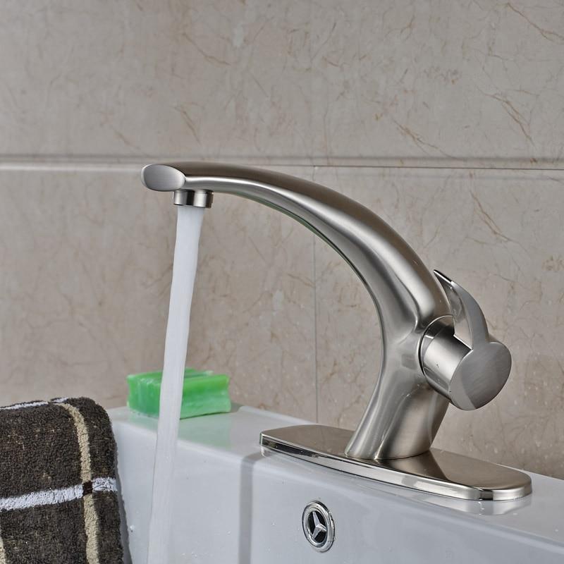 Big Promotion Free Shipping Bathroom Basin Countertop Mixer Faucet Nickel Brushed big promotion 100