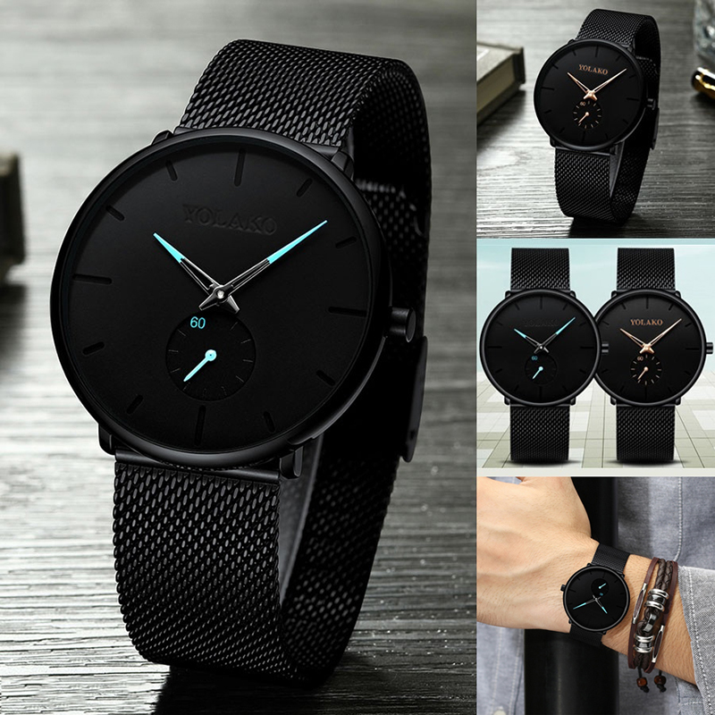 Casual Watches Mesh-Strap Quartz Business Stainless-Steel Minimalism Ultra-Thin New-Fashion