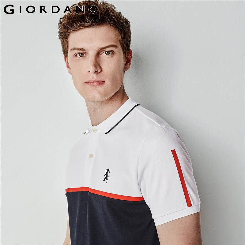 Giordano Men   Polo   Lion Embroidery Color Blocking Pattern   Polo   Shirt Short Sleeves Flat Collar Mens Top Slim Fitting Clothing