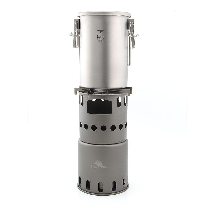 где купить Keith Ti6300 Titanium Pot And TOAKS Wood Stove Combo Set по лучшей цене