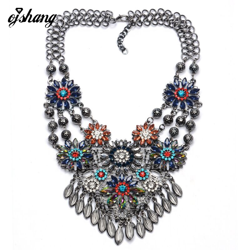 Collares Women Gros Collier Femme 2016 Necklace Pendant Multi Flower Crystal Jewelry Gold Silver Chain Choker