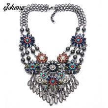 Ожерелье Женщины Грос Collier Femme 2016 Ожерелье Multi Цветочный Кристалл Ювелирные Изделия Золото Серебро Цепи Колье Kolye Bijoux