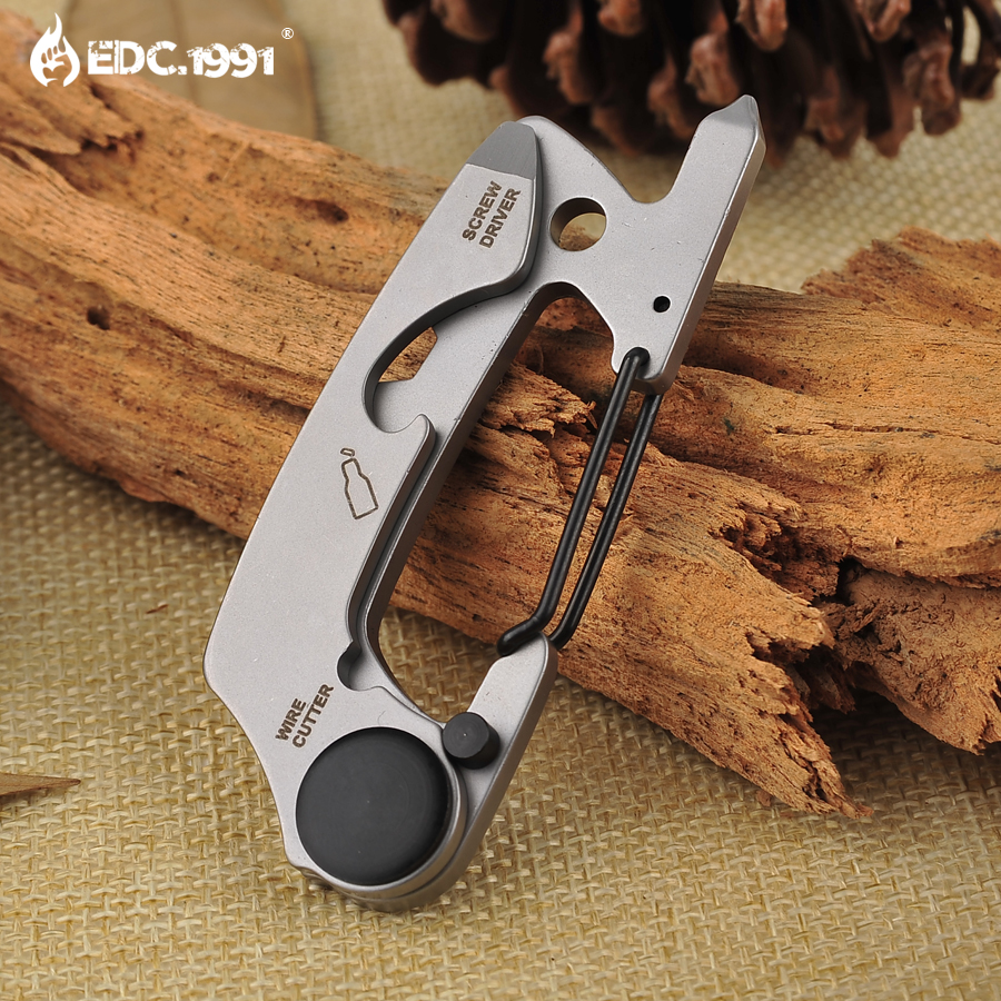 Full Stainless Steel Key Chain Multi Tool EDC Kit Carabiner Keychain Clip Silver Hiking Climbing Hanger Buckle Outdoor Tools