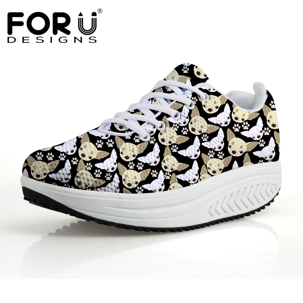 FORUDESIGNS Cute Chihuahua Dog Puzzle Prints Platform Shoes Women Fashion Women's Casual Height Increasing Swing Shoes Shape Ups forudesigns fashion women casual slimming swing shoes graffiti pattern wedge platform shoes for female lady lace up shape ups