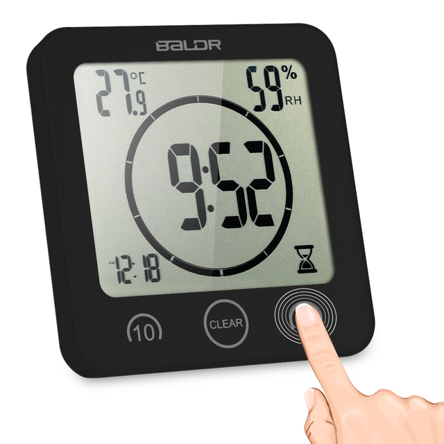 Multifunctional LCD Digital Wall Clock with Large Screen Display Time Temperature Humidity Excellent LCD Shower Clock with Timer