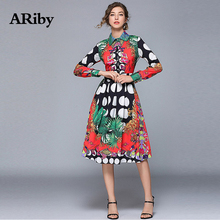 ARiby Women Dress Printed Slim Mid-long Dresses 2019 Summer New Fashion Office Lady Long Sleeve Turn-down Collar A-Line Dress long sleeved dress women 2019 spring summer new simple stripes turn down collar slim a line casual elegant dress midi s xl