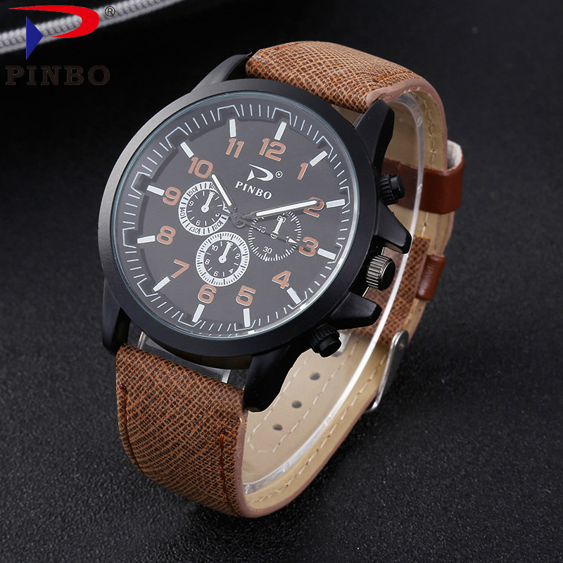 2017 Fashion PINBO Brand High-end Fashion Men's Watch Quartz Clock Leather Military Sport Wristwatches Relogio Masculino P170