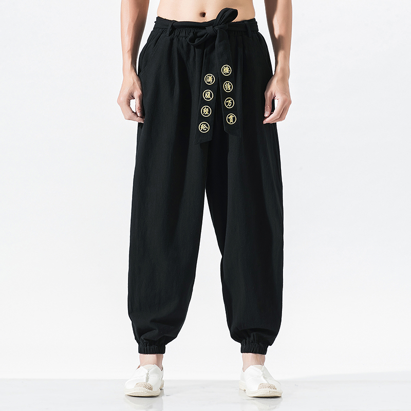 Streetwear Loose Casual Harem Pants Men Cotton Elastic Waist Embroidery Trousers Hip Hop Wide Leg Mens Quality Chinese Kung Fu