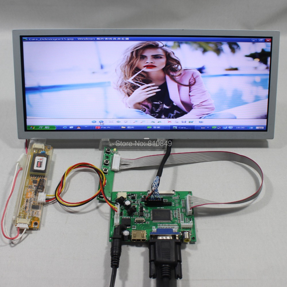 HDMI+VGA+2AV LCD driver board+12.3inch 1280*480 LQ123K1LG03 lcd panel vga 2av revering driver board 8inch 800 600 lcd panel ej080na 05b at080tn52