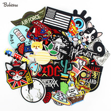 50pcs/lot Embroidered patches badges hot iron on cropped patches for clothes Stickers Appliques