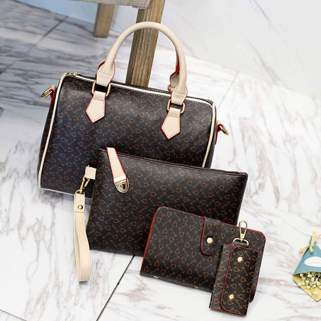 70ac65656990 2019 New Women Bags Leather Handbags Fashion Shoulder Bag Female Purse High  Quality 6-Piece