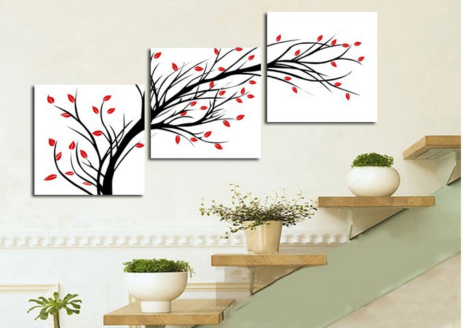 Online Shop 3 Pieces Rich Tree Red Black Picture Living Room Contemporary  Painting Decorative Canvas Paint Pure Hand Painted Huge Combinatio |  Aliexpress ... Part 50