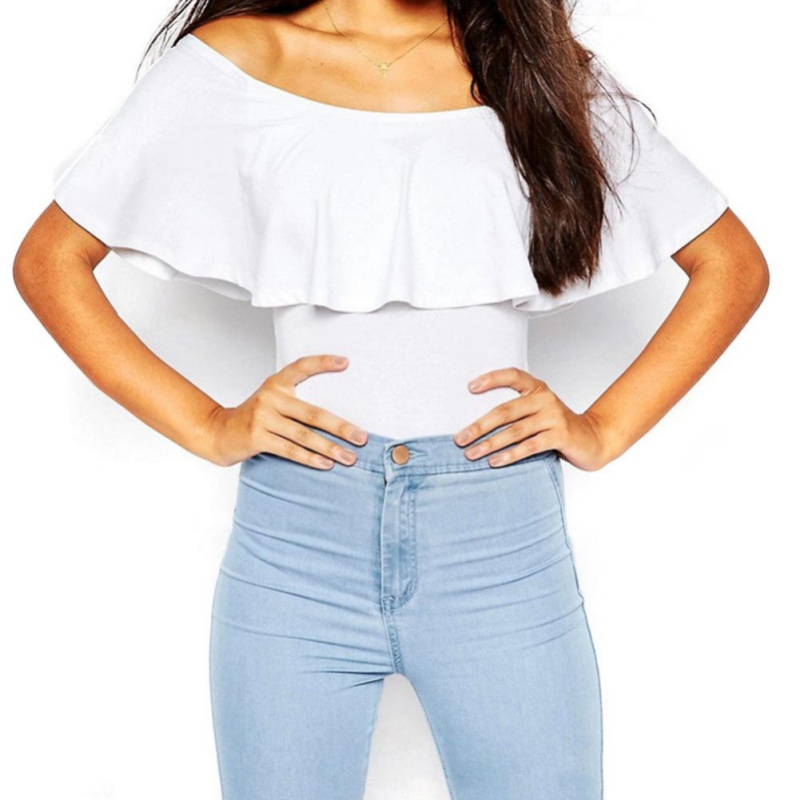 Newest Women Summer Sexy Off Shoulder Rompers Ruffles Bodysuit Tops Bodycon Solid Blusa   Jumpsuit   5 Colors