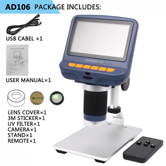 Digital USB Microscope With 4.3 Inch Built-in Display Screen Dental Tools Inspection Magnifier AD106