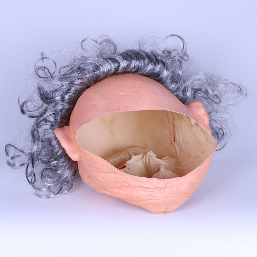 Creepy Old Man Mask With Hair Masquerade Old Man Mask Halloween Mask Props New (1)