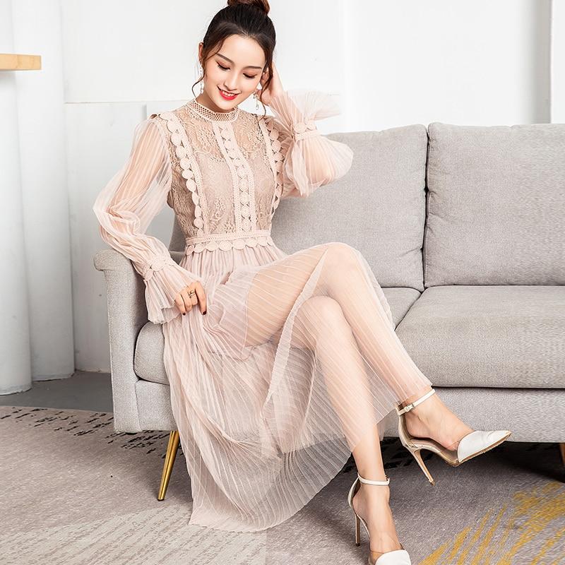 Kobiety w stylu Vintage sukienka koreański 2019 wiosna Casual Bodycon sukienka elegancka siateczka mesh koronkowa sukienka biuro z długim rękawem Vestidos dwuczęściowy zestaw OL w Suknie od Odzież damska na  Grupa 1