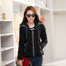2017 New Fashion Women Winter Down jacket  Big yards Thickening Super Warm Coats Hooded Jacket Splicing Slim Women Coat G1558