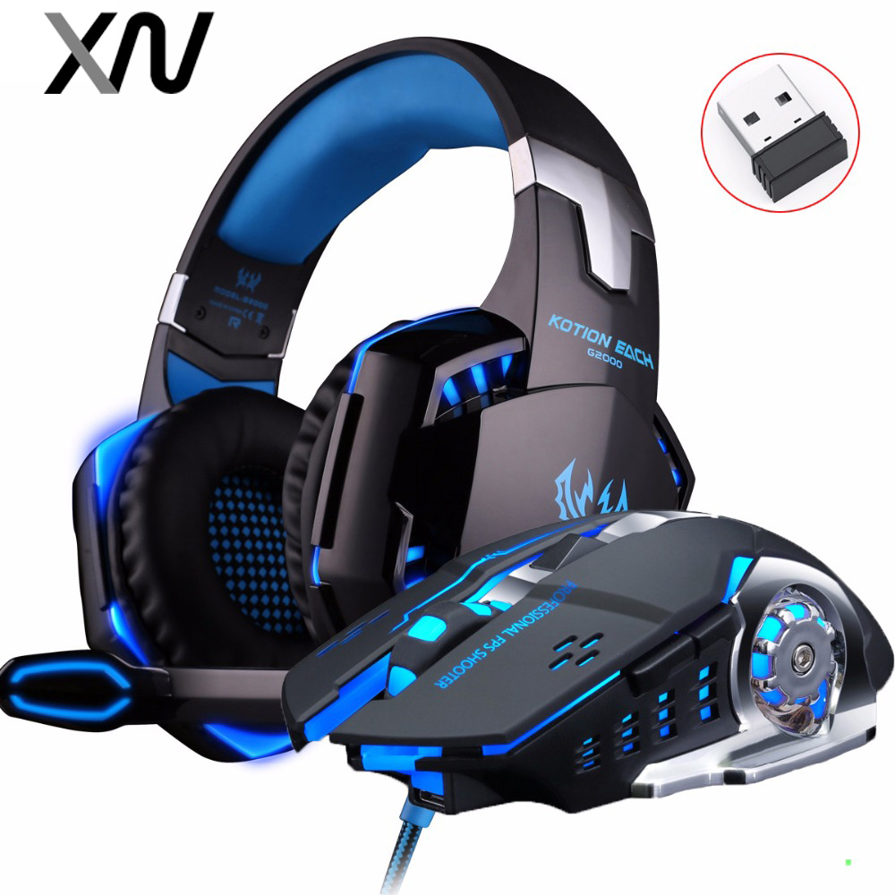 KOTION EACH G2000 Deep Bass Gaming Headset Wired Headphones with mic Stereo+2.4GH 6D Optical 2400DPI Wireless PC Gaming Mouse kotion each b3506 foldable wireless bluetooth headphones gaming casque hifi bass stereo headset with mic for phone ps4 tablet pc