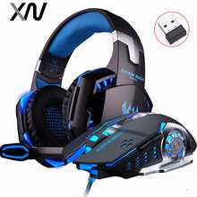 KOTION EACH G2000 Deep Bass Gaming Headset Wired Headphones with mic Stereo+2.4GH 6D Optical 2400DPI Wireless PC Gaming Mouse(China)