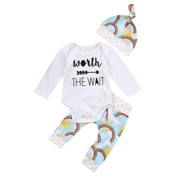 46ea18f77f59 Cute Newborn Baby Girls Boys 0-18M Rainbow Clothes Set Letter Print Romper  Jumpsuit Pants Hats 3pcs Baby Outfits Set