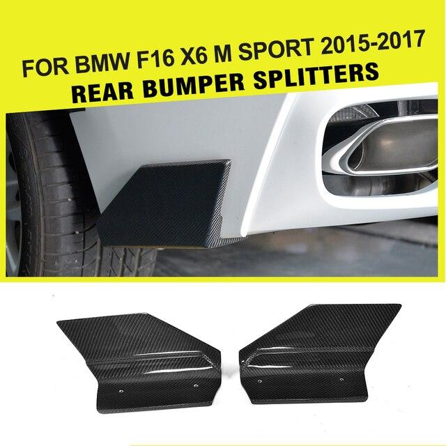 For BMW X6 F16 xDrive35i xDrive50i M Sport Utility Rear Bumper Splitters Aprons Flaps 4-Door 2014 - 2018 Carbon Fiber Diffuser