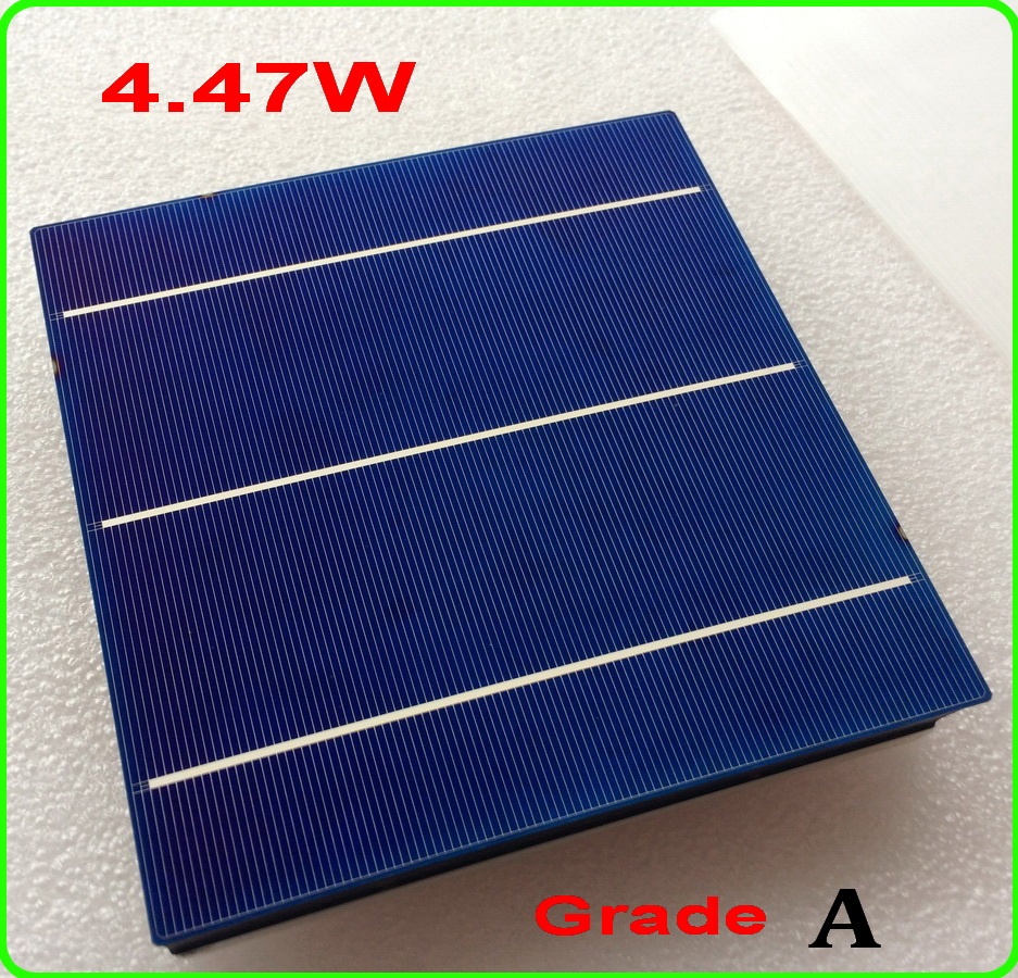 4.47W 156mm 3BB Poly Solar Cell 100pc 19.00% High Efficiency Polycrystalline Solar Cells 6x6 +enough PV Ribbon DIY solar panels