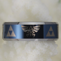 Free Shipping USA UK Canada Russia Brazil 8MM Comfort Fit Legend Of Zelda Blue Top Silver