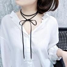 Мода черный terciopelo кожа лук choker shell кисточкой длинную веревку колье femme ложные ожерелье для женщин девушка diy подарок ювелирных изделий