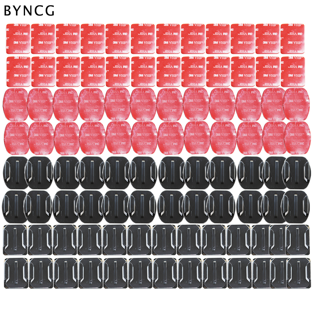 BYNCG for GoPro hero 5 Accessories Set 104pcs Flat and Curved Base Adhesive Mount 3M VHB Stickers Go Pro 3246 Session Xiao yi 4K