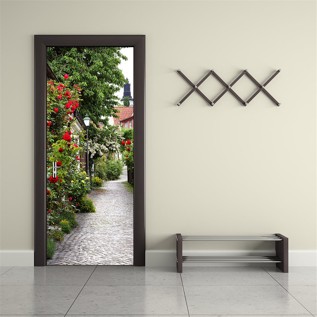 Door stickers poster pvc waterproof footpath imitation 3d for Door mural stickers