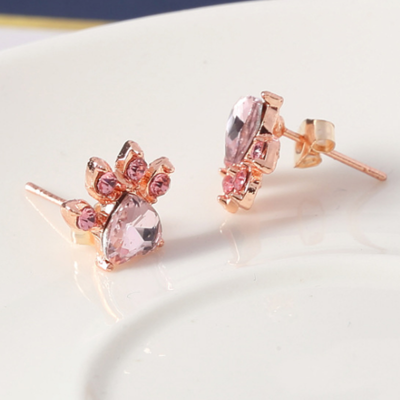 New Rose Golden Small Dog Paw Stud Earring Animal Shiny 1Pair Cute Crystal Girls Stud Earring dropshipping