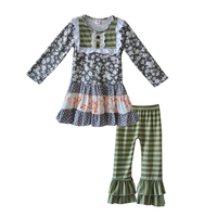 Hot Sale Kids Fall Clothing Full Sleeves Print Dress Stripes Ruffle Pants Children Girls Cotton Boutique Suits Outfits F166
