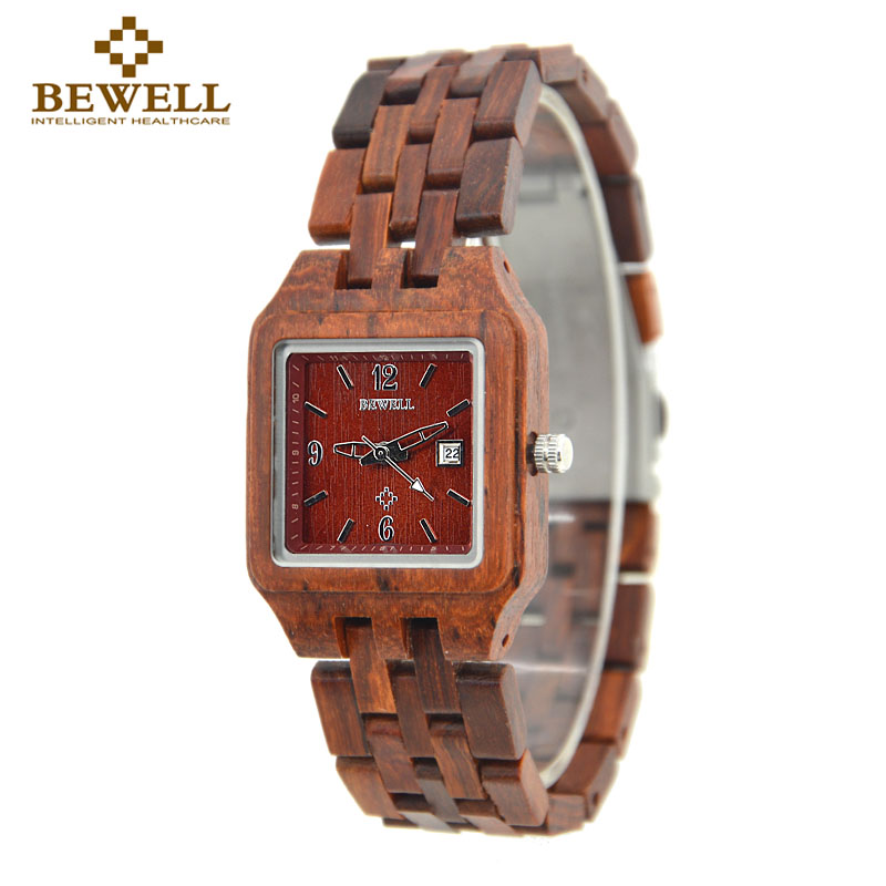 BEWELL Square Red Sandal Chronograph Wood Watch Women Clock Ladies Quartz Watch Woman Watches 2017 Brand