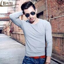 TBAIYE Fashion Hot Brand Mens T-Shirt Men's Fitness long Sleeve O-Neck Tees upscale luxury clothing Slim solid Color sweatshirt