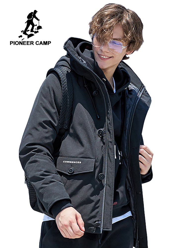 Pioneer Camp fashion   down   jackets for men brand clothing thick warm winter duck   down     coat   male top quality black AYR801406