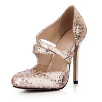Glitter round toe cross strap high heels slip on single shoes autumn sequined side empty stiletto pumps sexy wedding shoes gold