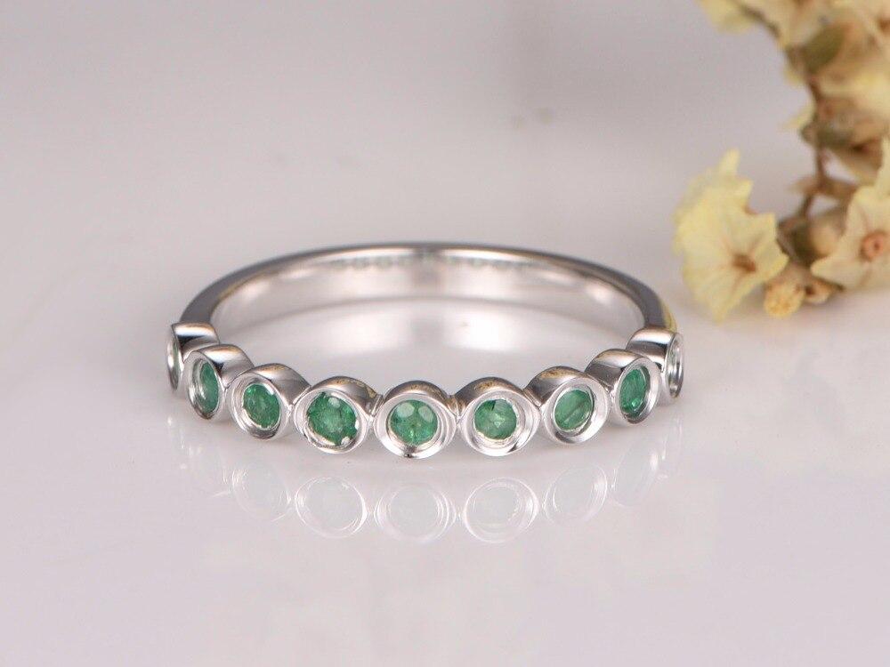 MYRAY Wedding Bands Engagement Ring Bezel Set Ring Emerald Wedding Ring in 14k White Gold Half Eternity Band