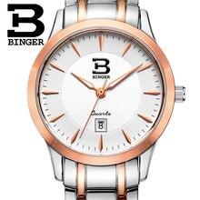 Suiza relojes de marca de lujo de Las Mujeres BINGER ultrafino Relojes de cuarzo completa de acero inoxidable Resistencia Al Agua B3005W-4