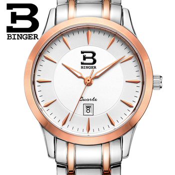 Switzerland Women's watches luxury brand BINGER quartz full stainless steel Water Resistance ultrathin Wristwatches B3005W-4
