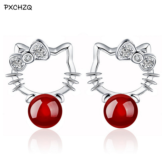b053459de silver Colour red earrings cute animal Hello Kitty one pair of black onyx  earrings girls love