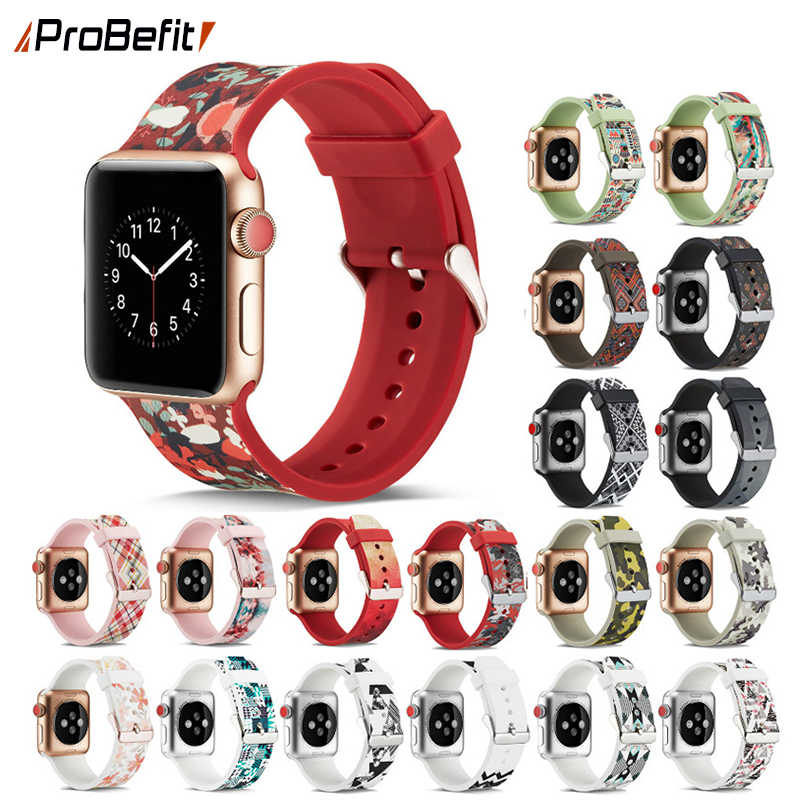 ProBefit Colorful Soft Silicone Band for Apple Watch 38MM 42MM 40MM 44MM Rubber Wrist Bracelet Watch Strap for iWatch 5 3 2 4 1