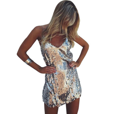4d0f35a3ef US $16.98 20% OFF|Sexy Deep V Neck Summer Silver Sequin Women Dress 2018  Sleeveless Strap Spaghetti Mini Dress Elegant Party Club Dresses  Vestidos-in ...