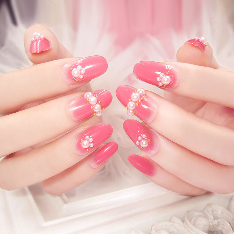 Aliexpress 24 Pcs Fashion Long Full Cover Lovely Pink False Nails With Pearl Fake For Party Use Glue From Reliable