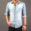 Мода 2017 Мужчины Джинсовые Рубашки Осень Хлопка С Длинным Рукавом Вскользь Уменьшают Мужчины Отложным Воротником Рубашки Сорочка Homme Camisa Masculina