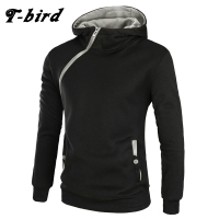 T Bird 2017 Men Hoodie Oblique Zipper Sweatshirt Mens Hip Hop Hoodies Fashion Brand Winter Slim