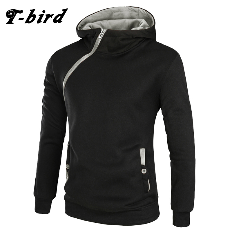T Bird 2017 Men Hoodie Oblique Zipper Sweatshirt Mens Hip Hop Hoodies Fashion Brand Winter Slim